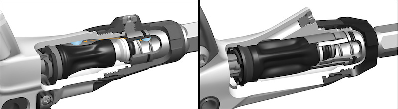 Avid continues to use their proven Taperbore master cylinder design for 2012, but has made major changes to the internals.  The new version (<i>right</i>) has its bleed port on the main lever body, allowing it to forego the extra sealing O-ring that the previous version (<i>left</i>) requires between the contact adjustment dial and lever body. The side-by-side comparison also clearly shows the difference in how the inside of the master cylinder is shaped on the new version in an effort to better control any air that may be present in the system, preventing it from getting past the seals and into the brake line.
