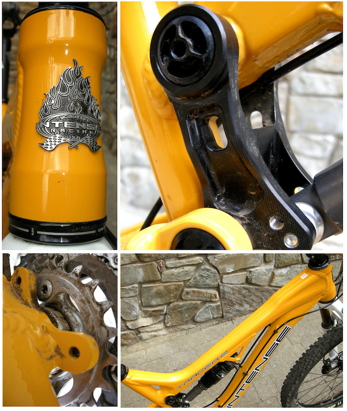 Clockwise - A 1.5 inch head tube ensures that Tracer 2 owners can use any steerer or headset configuration. Custom pivot hardware and two shock positions on the upper VPP link. Intense's beautifully crafted hydro-formed top tube offers lots of stand-over clearance. The Tracer's chain guide tabs are machined into the bottom bracket shell