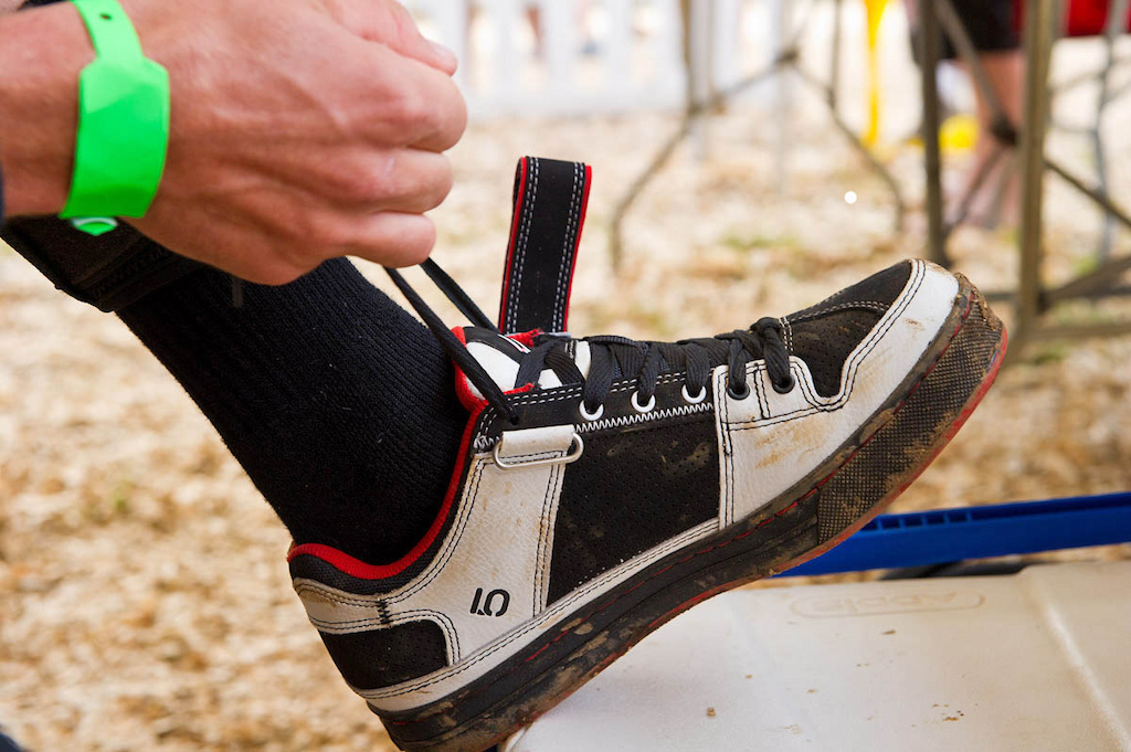 Getting ready to rumble means meticulous preperation. Greg Minnaar spent nearly two minutes per shoe, lacing them up just so: not too tight, not too loose.