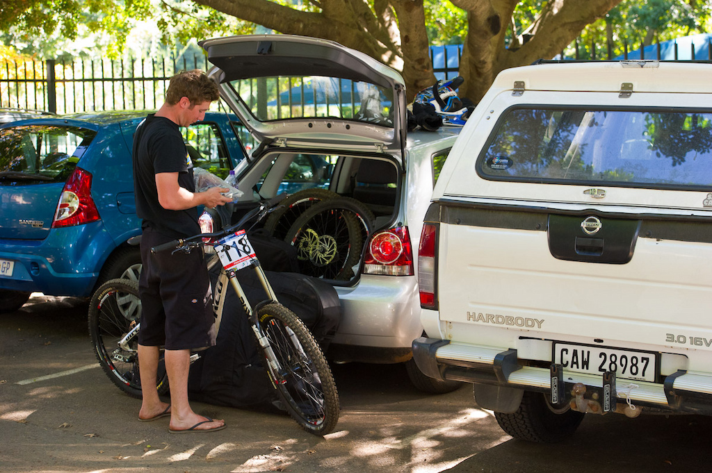 Not everyone can pony up for a pit space--those ain't cheap. But for a one man and a wrench outfit like Dirt/Norco here in South Africa, free fifty for a parking lot