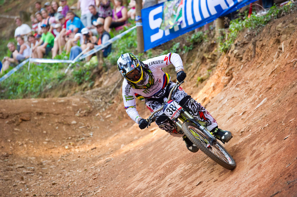 Not the kind of track Sam Hill shines on, but he was able to salvage an eighth place. That, combined with his qiualifying points, has him in seventh overall. A bit down, but not out for the overall.