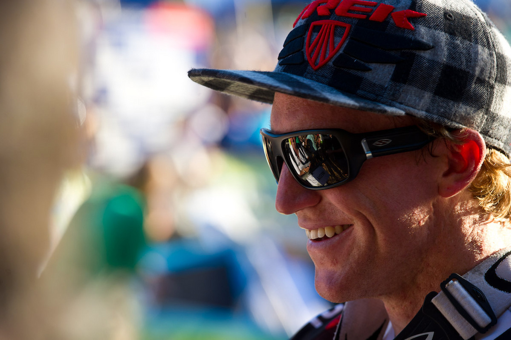 Aaron Gwin's grill says it all: winning feels like nothing else.
