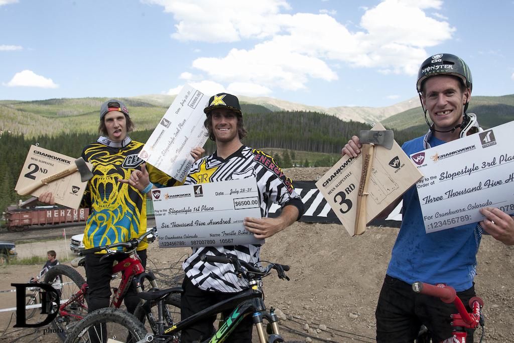 Top three left to right; Brandon Semenuk in 2nd, Cam McCaul in 1st and Sam Pilgrim in 3rd.