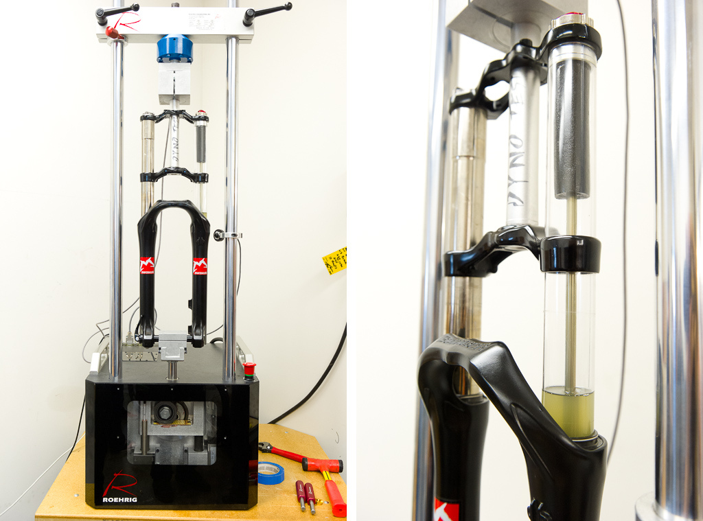 A polycarbonate tube takes the place of a stanchion to allow us to see how a prototype closed cell foam compensator reacts as the fork compresses and extends. The Roehrig suspension dyno pictured is used to analyze durability, as well as measure both stiction and heat produced during hard use.