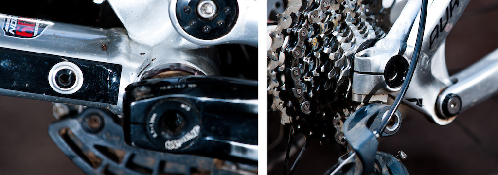 Norco ingeniously integrated a spare derailleur hanger bolt into the frame just in front of the crankset on the frame's non-drive side.